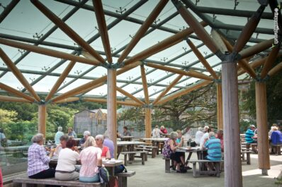 Above: Buckfast Abbey's impressive covered restaurant