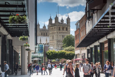 Princesshay with view through to Exeter Cathedral