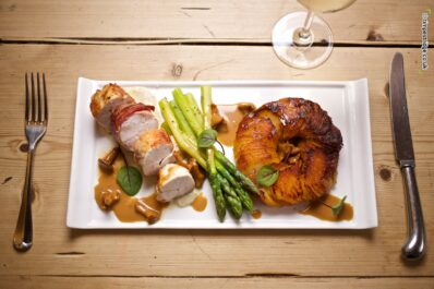 Free range Chicken breast wrapped in pancetta, with wild mushrooms, asparagus and Pomme Maxime