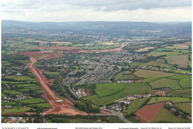 Commercial aerial photography of the A380 bypass for Devon County Council