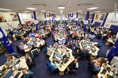 ABOVE: A birds eye view of the huge team of support staff